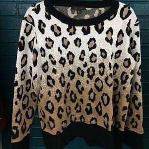 Ann Taylor Loft Ombré Leopard Print Sweater Size M